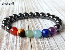 7 Chakras Healing Bracelet Hematite Wrist Mala Beads Balancing Yoga Jewelry Hot