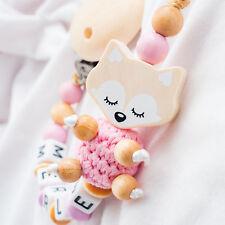 Schnullerkette mit Namen ? XL Träum Fuchs ? Häkelperle ? Baby Mädchen rosa Holz