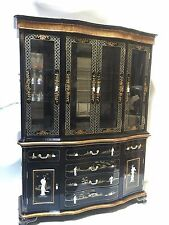 "Oriental furniture China cabinet 60"" Black lacquer mother of pearl"