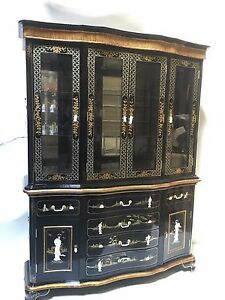 """Oriental furniture China cabinet 60"""" Black lacquer mother of pearl"""