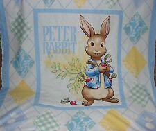 Peter Rabbit Blue Minkee Cot Blanket Handmade