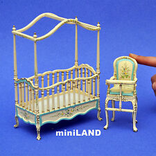 Baby room set 2pcs DollHouse miniature1:12 quality wood bed high chair nursery