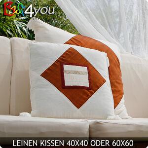 Bali Baldachin Kissenhüllen Zierkissen Sofa Kissen 50x50 Naturleinen Sandelholz