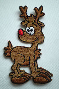 10x EMBROIDERY IRON ON CHRISTMAS RUDOLPH THE RED NOSE REINDEER MOTIF PATCH CRAFT