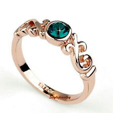 18k Rose Gold Plated Green Emerald Ring Band Made With Swarovski Crystal R40