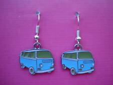 Funky Blue VW Camper Van Earrings Cute Retro Kitsch Surfer Style Hippy 60s Cool
