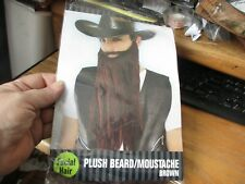 Brown Plush Mustache And Beard Costume Halloween Party Theater Cosplay Opened