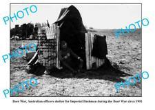 OLD LARGE PHOTO, AUSTRALIAN OFFICERS SHELTER BOER WAR 1901
