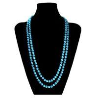 UNA DULCE Collar de Perlas Muchos Colores XXL largos Corta Rosa Azul Crema