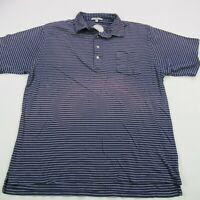 Peter Millar Mens Polo Shirt Blue Short Sleeve Button Stripes XL Golf Crown