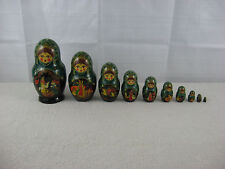Russian Matryoska Hand Painted Nesting Dolls 10 Pc Set-Rusland & Lydmila