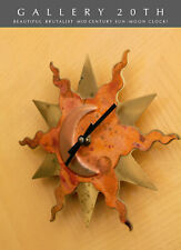 WOW! SUN & MOON BRASS COPPER CUSTOM MID CENTURY MODERN BRUTALIST WALL CLOCK! ART