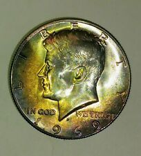 Doubbled Die Obverse 1969 D Half Dollar Unc With incredable toneing