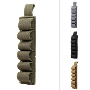 Tactical 6 Round Shotgun Shell 12 Gauge Ammo Carrier Holder Pouch Hunting