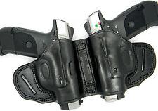 PREMIUM BLACK LEATHER DUAL 2-GUN OWB HOLSTER SMALL OF BACK SOB - RUGER SR9C SR40