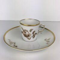 Royal Copenhagen demitasse porcelain coffee cup and saucer, Brown Rose, vintage