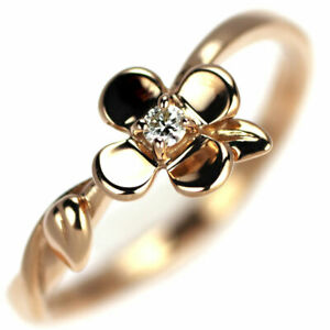 Star Jewelry K18PG Diamond Ring 0.02ct Flower - Auth SELBY_JAPAN