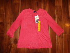 NWT Womens RAFAELLA Honeysuckle Pink 3/4 Sleeve Embroidered Knit Top Shirt M