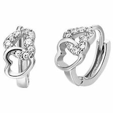 sterling silver heart Cubic Zirconia earrings gift for women girls with gift box