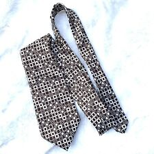 Vintage Lord & Taylor John Weitz Neck Tie Silk Brown Ivory Dotted Geometric