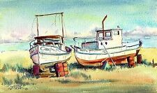 Dry Docked Fishing Boats by the Sea by Sharon Sharpe!