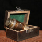 """3.74"""" Exquisite Chinese copper Handmade three links telescope And wood box a set"""