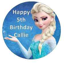 """Elsa Frozen Personalised Cake Topper 7.5"""" Edible Wafer Paper Birthday Party"""