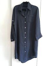 TALIA BENSON MUTED NAVY  LINEN BUTTON THRU DRESS SHIRT TAIL HEM XL UK SZ 14-16