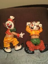 Homco Smiling Clowns Wall Plaque Hanging multi color Collectibles lot of 2