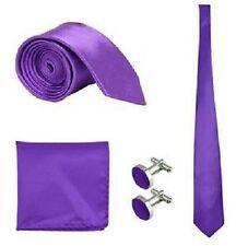 SKINNY Herren Hochzeit Veranstaltung Prom Party Krawatte Krawatte + Tuch + Manschettenknöpfe Set UK