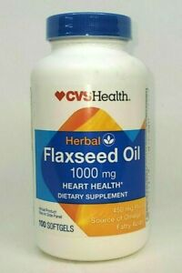 CVS Herbal Flaxseed Oil 1000Mg 100 Softgels 450mg Exp 4/2022