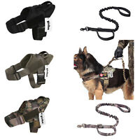 Tactical Military Training Service Dog Nylon Vest Police Patrol Harness w/Handle