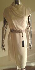 Derek Lam Silk Ivory White Sleeveless Turtle Neck Wrap Dress Sz 2