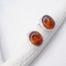 Bernstein oval orange Feuer Design Ohrringe Ohrstecker 925 Sterling Silber neu