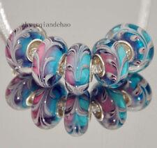 5pcs MURANO Lampwork charm Beads fit 925 silver European Bracelet Chain a535