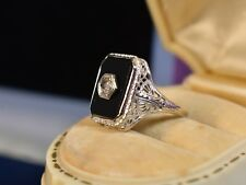 Antique Art Deco 14K White Gold Filigree Onyx Diamond Ring size 8