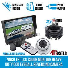 "12-24v 4pin Heavy Duty Truck Reversing Kit 7"" Monitor IR Reverse CCD Camera 20m"