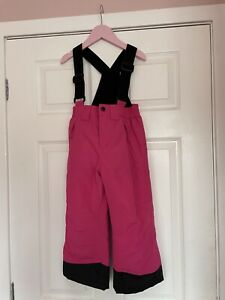 Childrens Girls Pink Ski Snow Salopettes Trousers 3-4 Years Excellent Condition