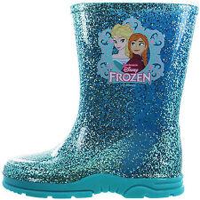 Girls Toddler Disney Frozen Elsa Anna Winter Wellies Shoes Boots Blue Size 6-12
