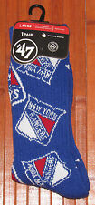 '47 Brand Mens Womens NHL New York Rangers Crew Socks 1 PR Blue M= 9-13  W=10-12