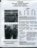 NEWLY REVISED Star Trek TNG Men's Uniform Jacket Pattern:  P-XX  --   PTN-010