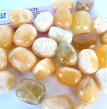 *THREE* ORANGE Calcite Tumbled Stone Mexico 20-25mm QTY3 Healing Crystal REIKI