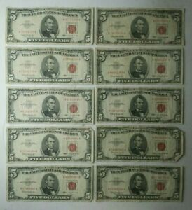 Lot of 10 1963 $5 United States Red Seal Notes