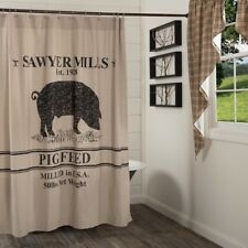 Pig Farmhouse Shower Curtain Tan Cotton Chambray Grain Sack Stripes Sawyer Mill