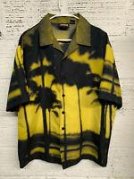 Vintage ODO Mens Size L Palm Trees Sunset Hawaiian Shirt Black & Yellow
