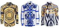 Suslo Couture Men's Slim-Fit Designer Paisley Bold Long Sleeve Button Down Shirt