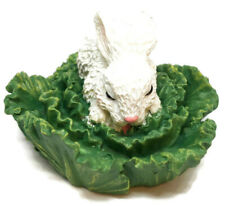 White Rabbit in Cabbage Leaves Figurine Easter Bunny Windsor Collection