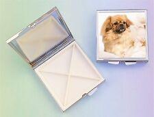 Tibetan Spaniel Dog 4 Compartment Square Metal Pill Box by paws2print