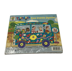 Vintage 1990's Playdays Wooden Pop In See Inside Childs Jigsaw Puzzle Bus 6 Piec