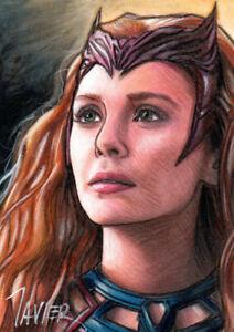 Avengers SCARLET WITCH Wanda Maximoff OLSEN MARVEL PSC SKETCH Card ORIGINAL ART
